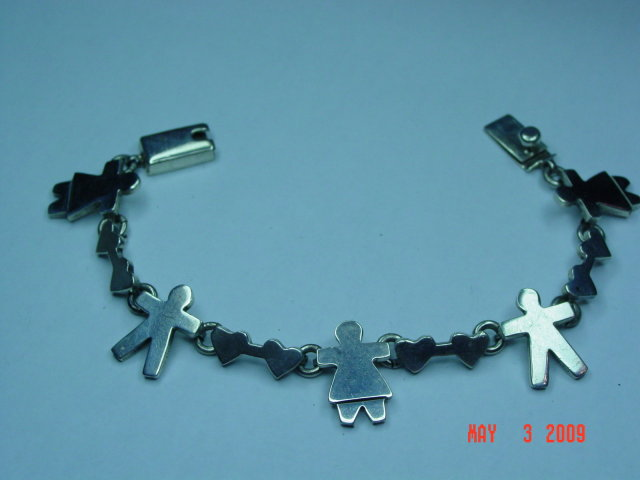 Mexico Sterling Silver Boy Girl Hearts Link Bracelet