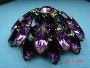 Vintage Round Purple & Pink Rhinestone Brooch