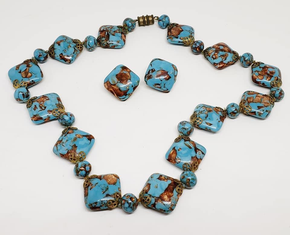 Venetian Murano Art Glass Pillow Shaped Beaded Necklace & Earrings by Carlo Moretti and Sons