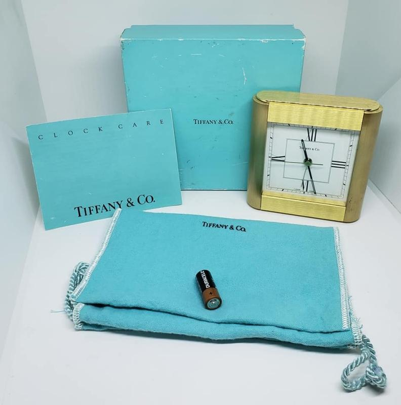 Art Deco Brushed Brass Tiffany & Co. Alarm Clock