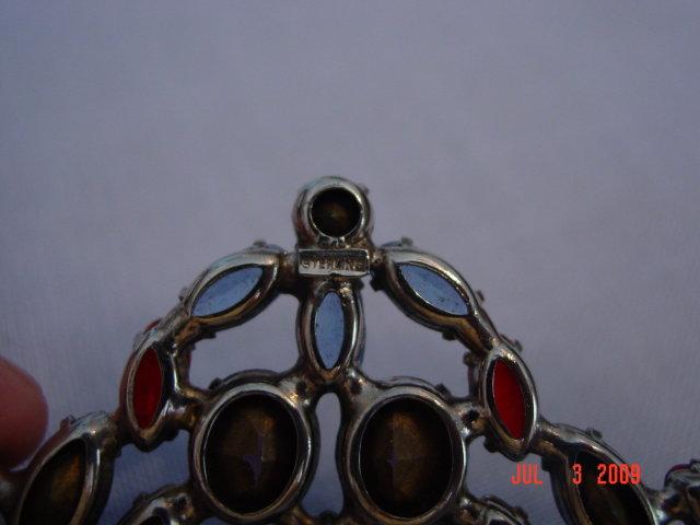 Estate Sterling Silver Colorful Rhinestone Fan Brooch