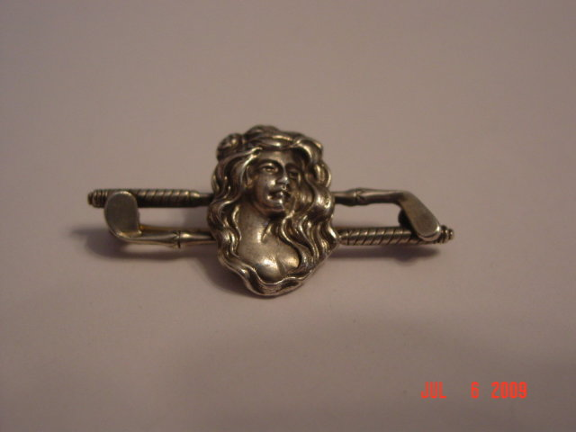 Antique Sterling Ladies Golf Pin