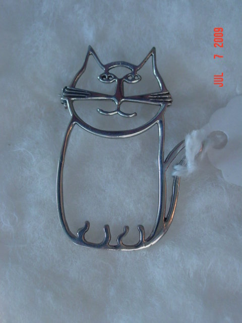 Sterling Cat Pin
