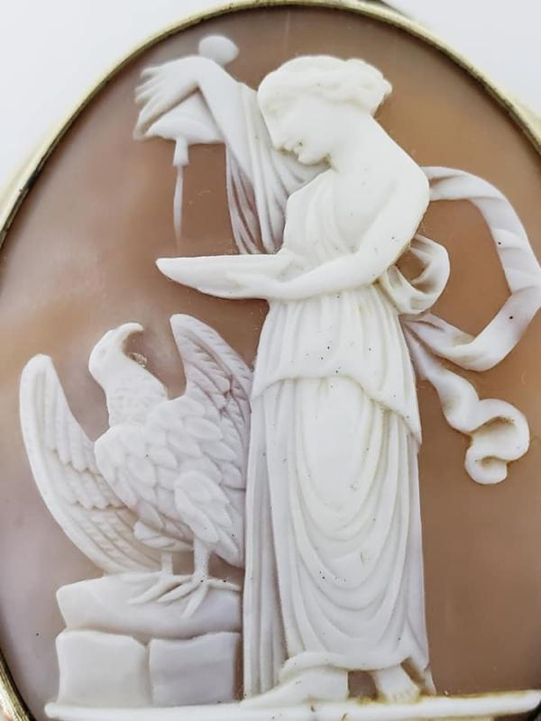 Large Bulls Mouth Shell Carved Cameo of Hebe feeding the Eagle of Zeus