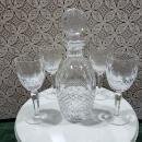 Waterford Crystal Colleen Spirit Decanter & 4 tall Claret Cut Wine Stems
