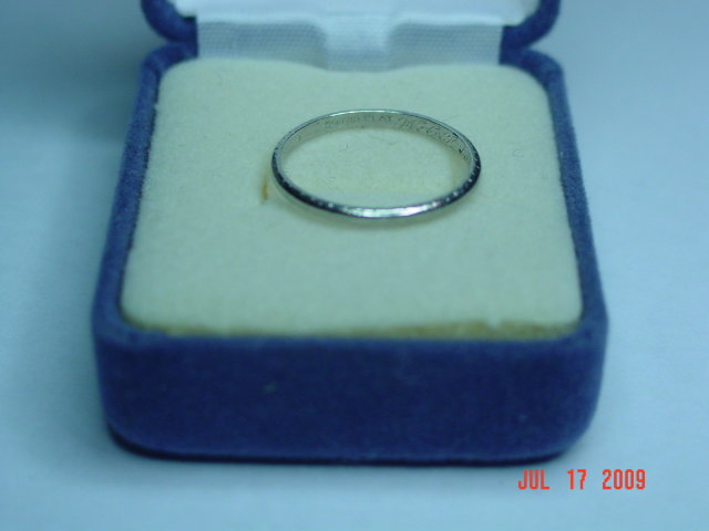 Antique Platinum Wedding Band Size 8-1/4