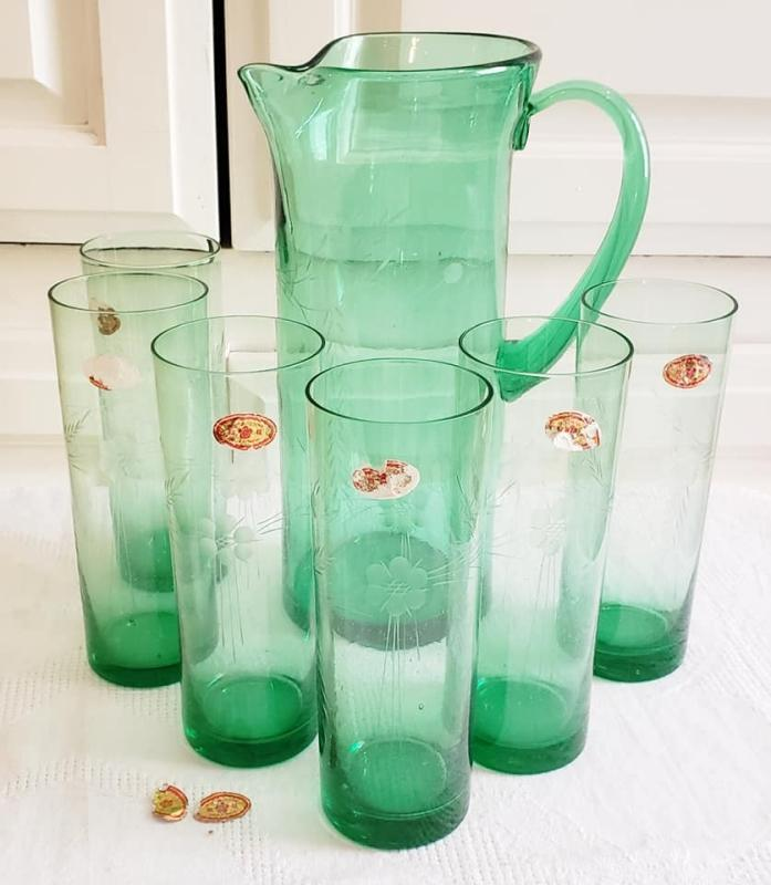 Vintage Etched Green glass Pitcher & 6 Glasses