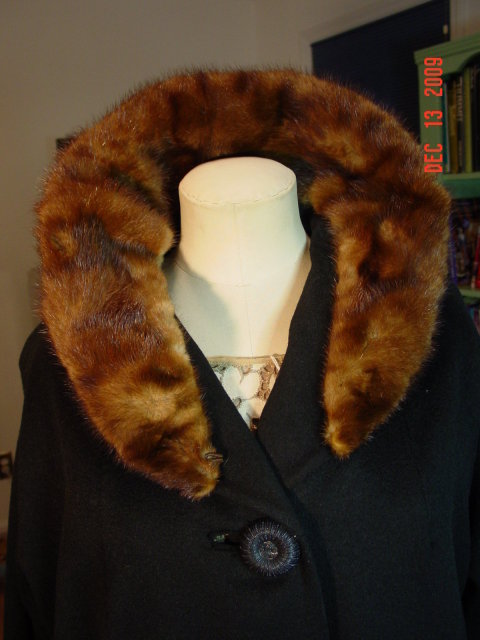 Vintage Black Wool Swing Coat with Mink Collar
