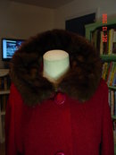 Vintage Cranberry Wool Coat with Dark Brown Mink Collar