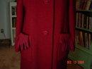 Vintage Cranberry Wool Coat with Dark Brown Mink Collar
