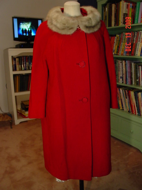 Vintage Betty Rose Cranberry Wool Coat with Gray Mink Fur Collar