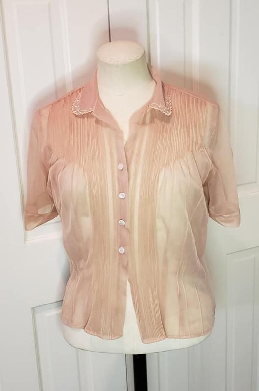 Vintage 1940's Sheer Taupe Nylon Blouse Bozart hand detailed by Melitzer