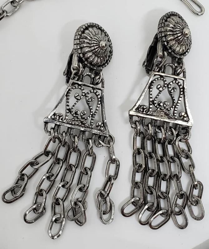 Vintage Judy Lee Silvertone Egyptian Revival Parure - Necklace, Bracelet, Clip Earrings