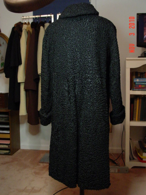 Black Dyed Curly Persian Lamb Fur Coat