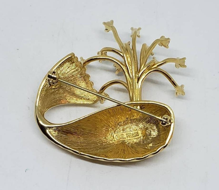 Erwin Pearl Goldtone Whale Spouting Rhinestones Brooch
