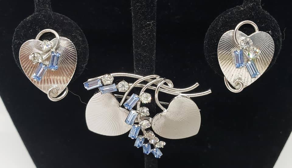 Carl Art CA 1940's Sterling Hearts and Blue Rhinestones Brooch & Screwback Earrings