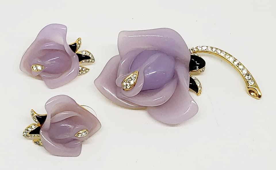 KJL Keneth J. Lane Lavender Rose Brooch & Pierced Earrings