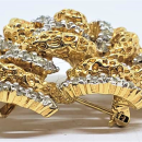Panetta Goldtone & Silvertone Rhinestone Brooch Pendant