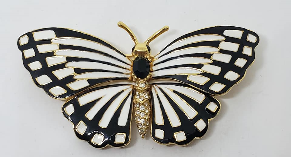 Ciner Black & White Enamel Butterfly Pin