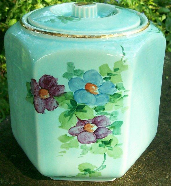 Vintage Shawnee Hexagon Basketweave Cookie Jar HP Flowers & Gold