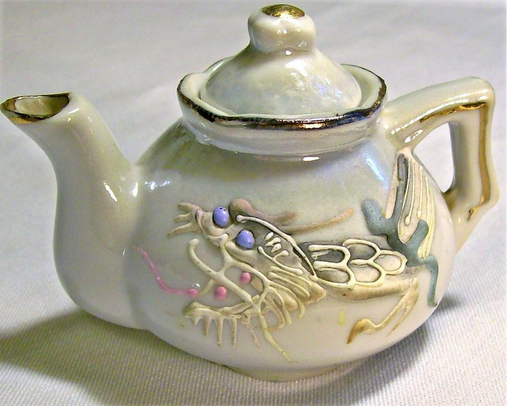 Vintage Moriage Dragonware Toy Teapot 1920s-30s Japan White Luster