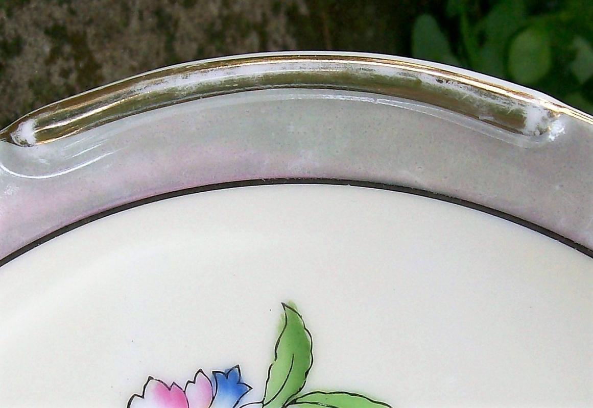 Vintage Noritake Art Deco Cake Plate Gray Luster w/ Bright Flowers 9