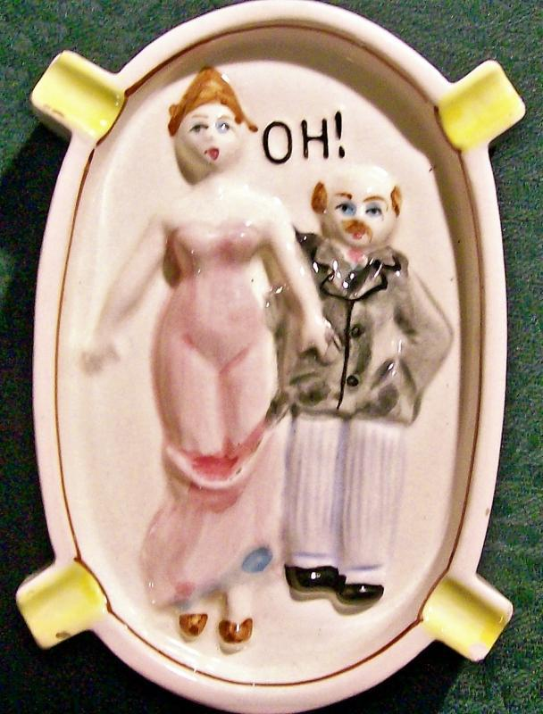 Vintage Risque / Naughty Double-Sided Ashtray 1950s Japan