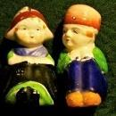 Vintage Seated Dutch Boy/Girl Salt & Pepper Shakers 1930s Japan