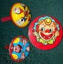 Vintage Tin Noise-Maker Set/3 Clowns U.S. Metal Toy/Kirchoff  1930s-50s Holiday Party