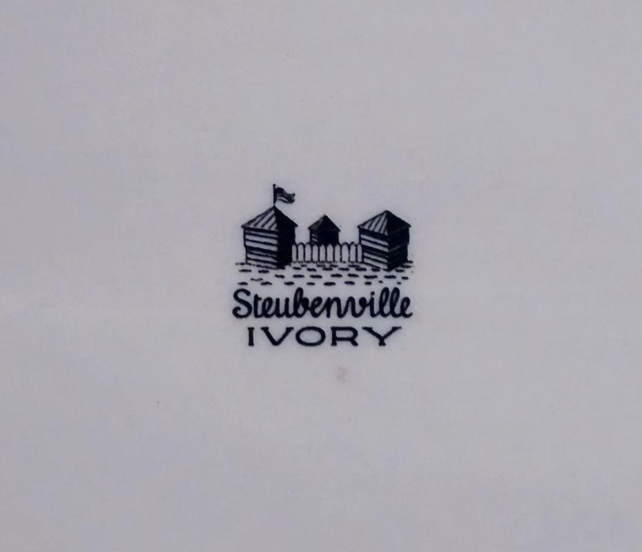 Vintage Steubenville Ivory Platter MC Floral Sprays Blue Line