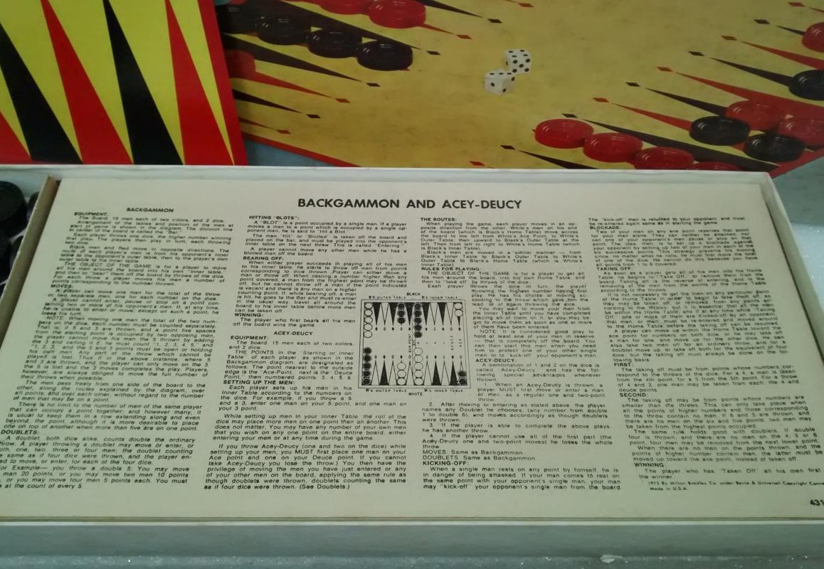 Vintage Backgammon/Acey Deucy Game Complete 1973 MB #4319
