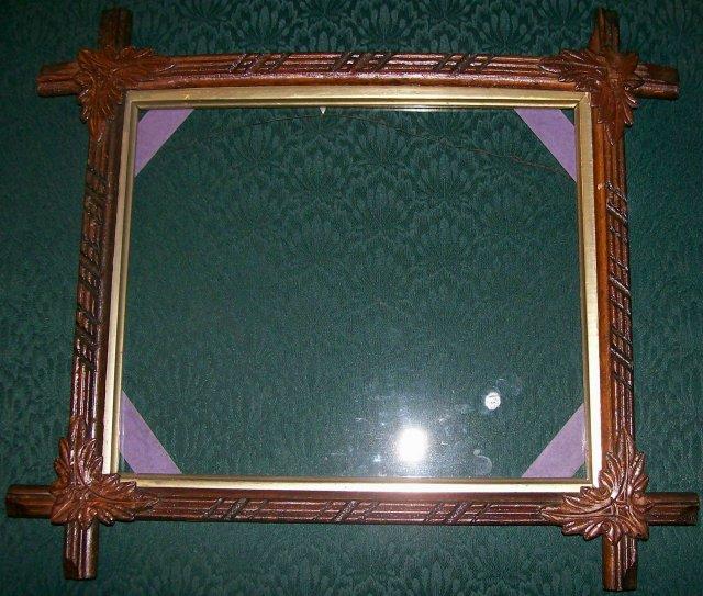 Antique Walnut Crossed Corner Frame with Original Glass Ca. 1880's Dark Wood 15