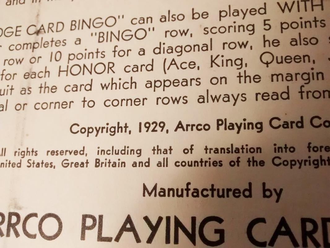 Vintage Bridge Card Bingo Game w/Box ARRCO 1920s-30s AS IS