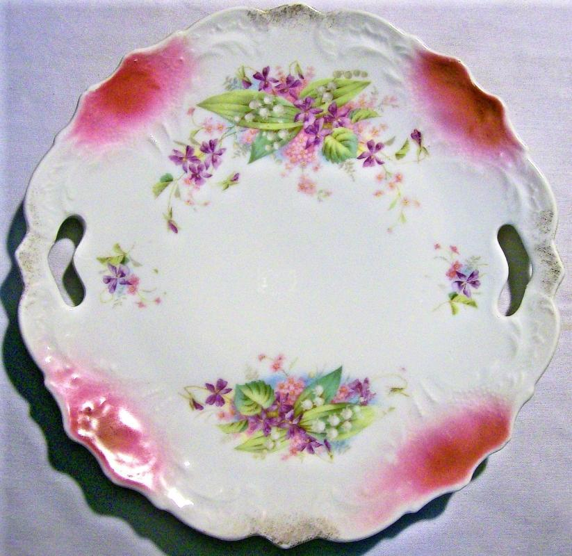 Antique Cake Plate Lily-of-the-Valley/Violet Decals Early 1900s