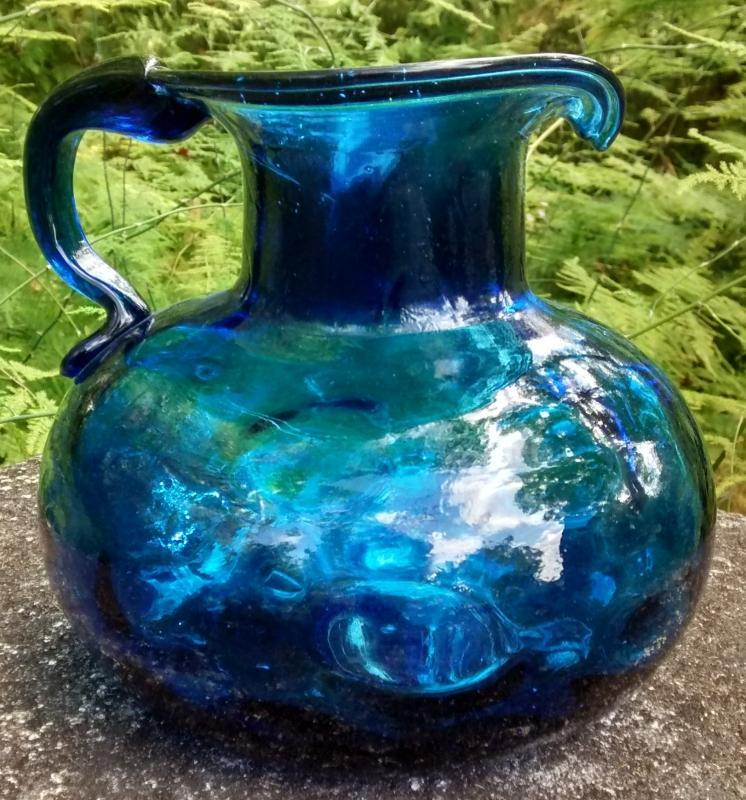 Vintage Early Clevenger Onion Pitcher Coin Dot Optic Cobalt Blue 1935-40 5.5