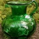 Vintage Early Clevenger Onion Pitcher Coin Dot Optic Emerald Green 1935-40 5.5