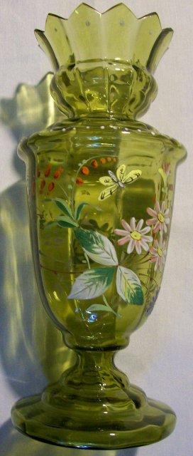 Antique Bohemian Bulb Vase Handpainted Enamels Olive Green Blown Glass