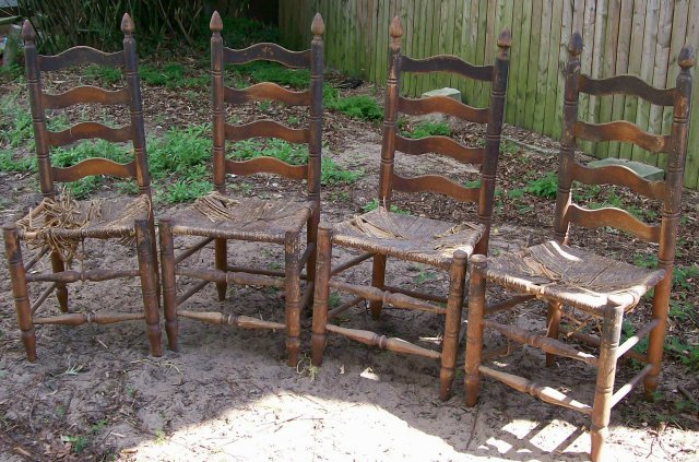 Antique High Ladderback Chair Set of Four Project AS IS