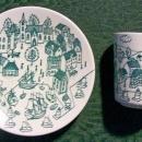 Vintage Nymolle Art Faience Demitasse Cup & Saucer Pair Ltd Ed #4006 Denmark 1970s Hoyrup