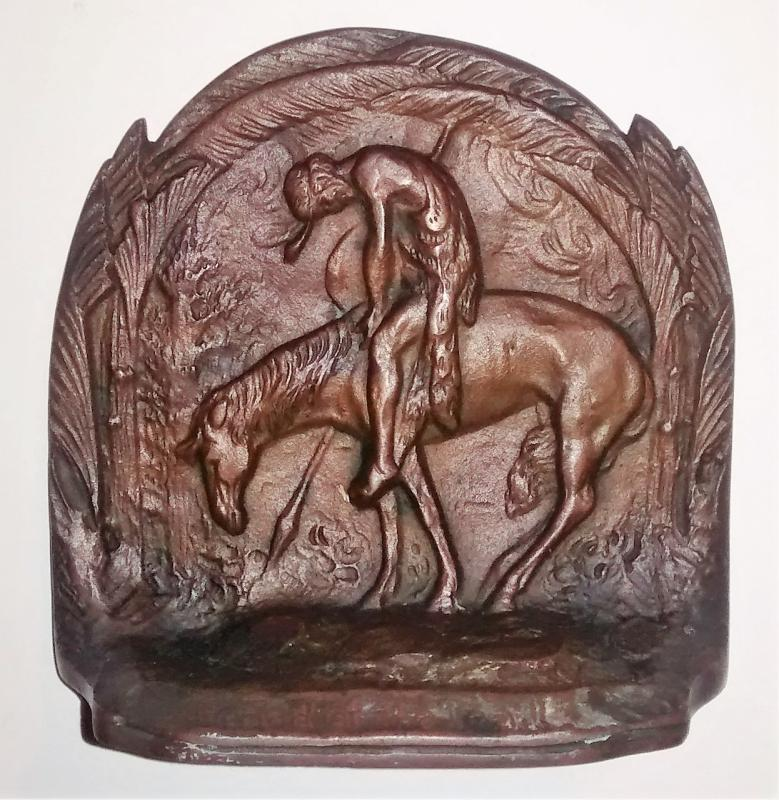Vintage Bronze Bookend Indian on Horseback