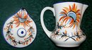 Vintage Czech Syrup Pitcher w/Lid Hand-Painted Blue/Orange Floral