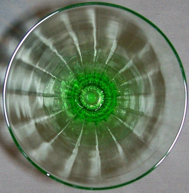 Tiffin Glass Stemware #14196 Green Paneled Optic Iced Tea 5.75