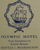 Olympic Hotel Restaurant Menu Georgian Room 1949 Seattle
