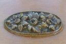 Vintage Art Deco Wooden Box Parquet Stripe Sides Bakelite Floral Ornament