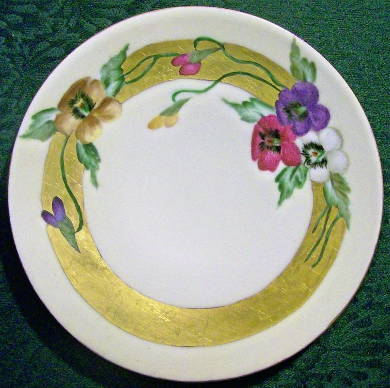 Antique Thomas Bavarian Pansy Plate HP Wide Gold Band Early 1900s