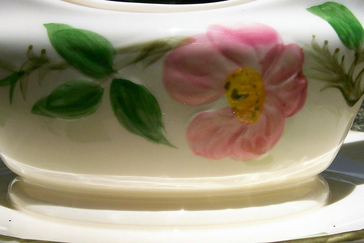 Vintage Franciscan Desert Rose Gravy/Sauce Boat w/Attached Tray 1960s USA
