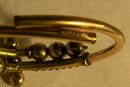 Antique Etruscan Revival Bracelet Gold-Filled Patd 1882 Red Stones By-Pass Hinge