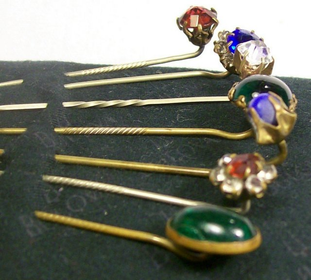 Antique Scarf/Stick Pin Set/7 Ca. 1900 Assorted