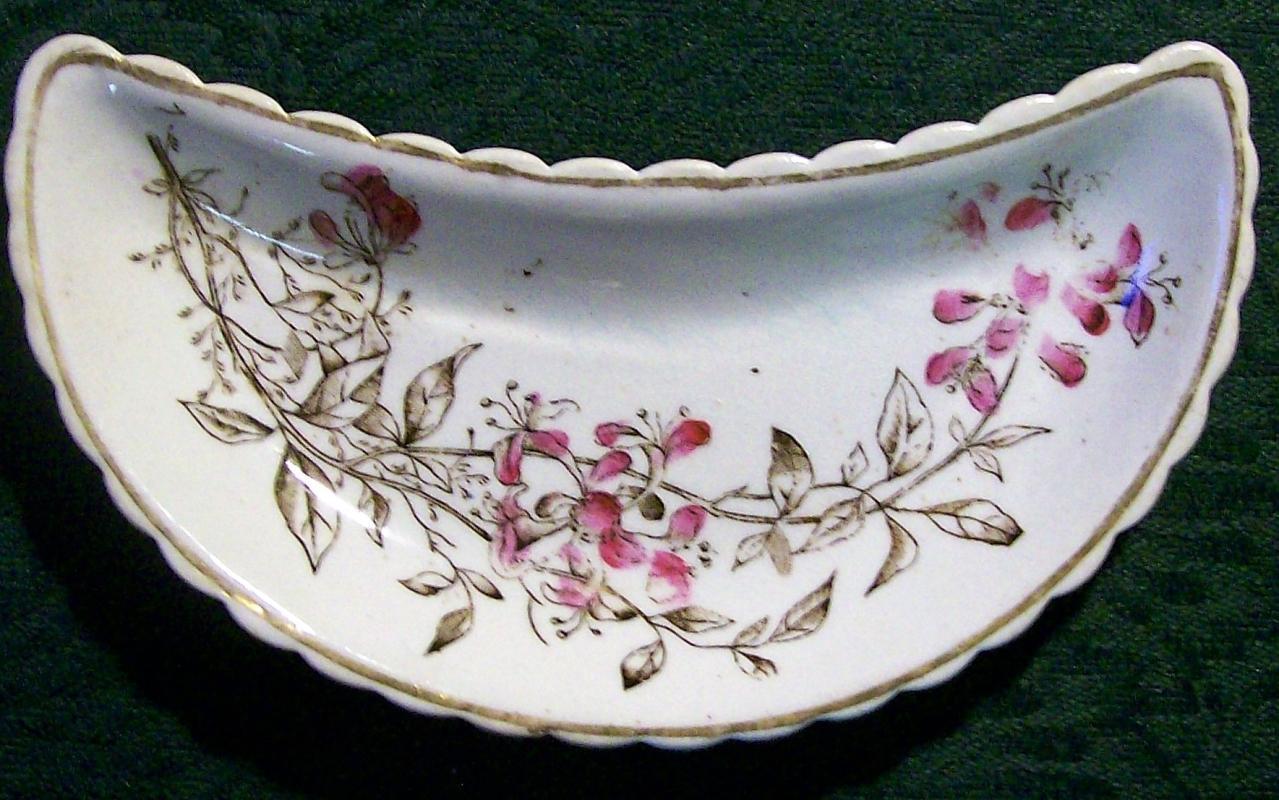 Antique Aesthetic Brown Transfer Bone Dish Enamel Trim 1870s-90s AMPC
