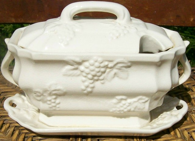 Antique Sauce Tureen Embossed Grapes White Ware 7